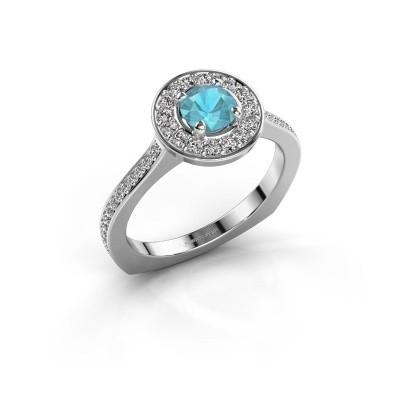 Ring Kanisha 2 925 zilver blauw topaas 5 mm