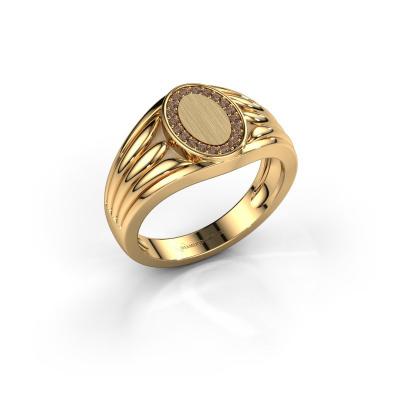 Pinky Ring Marinus 585 Gold Braun Diamant 0.15 crt