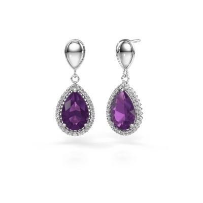 Drop earrings Cheree 1 950 platinum amethyst 12x8 mm