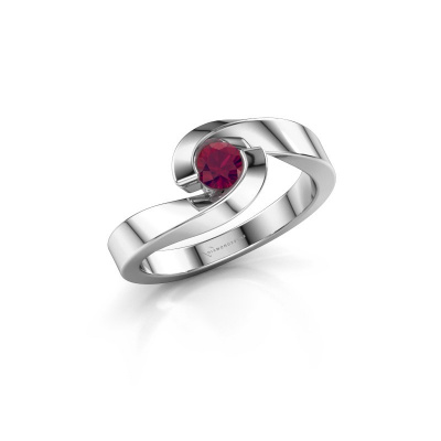 Photo de Bague Sheryl 585 or blanc rhodolite 4 mm