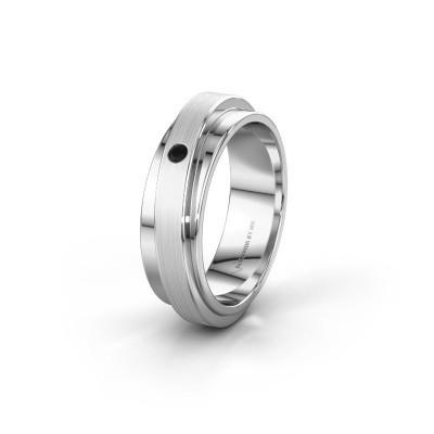 Huwelijksring WH2220L16D 950 platina zwarte diamant ±6x2.2 mm