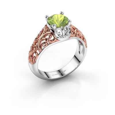 Ring Mirte 585 witgoud peridoot 6.5 mm