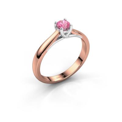 Foto van Verlovingsring Mia 1 585 rosé goud roze saffier 4 mm