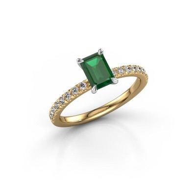 Picture of Engagement ring Crystal EME 2 585 gold emerald 6.5x4.5 mm