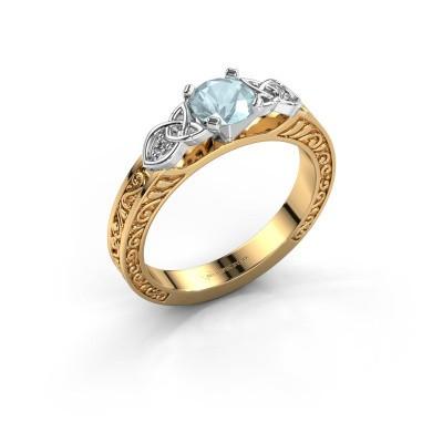 Verlovingsring Gillian 585 goud aquamarijn 5 mm