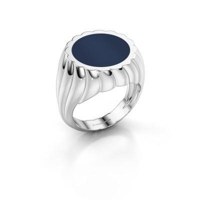 Zegelring Mano 950 platina donker blauw lagensteen 13 mm