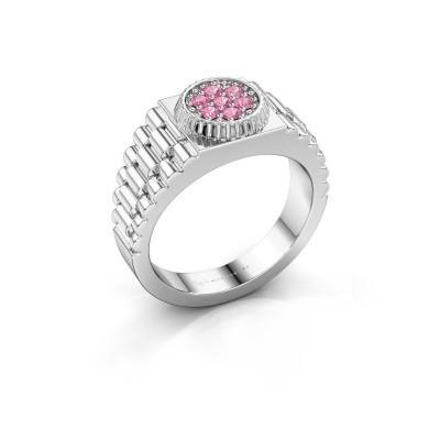 Foto van Heren ring Nout 925 zilver roze saffier 2 mm