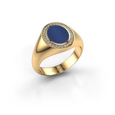 Foto van Pinkring Adam 1 585 goud lapis lazuli 10x8 mm
