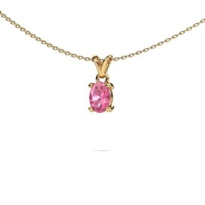 Ketting Lucy 1 375 goud roze saffier 7x5 mm