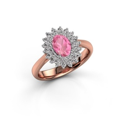 Foto van Verlovingsring Alina 1 585 rosé goud roze saffier 7x5 mm