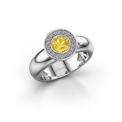 Stacking ring Anna 925 silver yellow sapphire 5 mm
