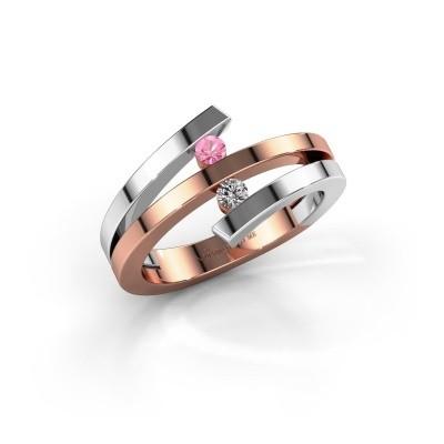 Ring Synthia 585 rosé goud roze saffier 2.5 mm