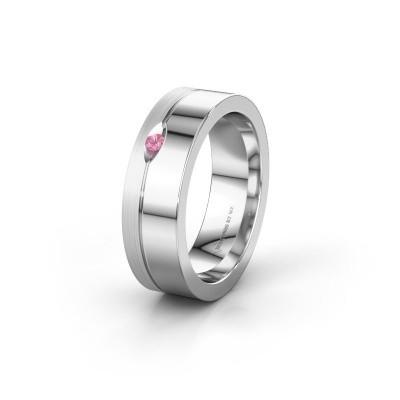 Wedding ring WH0329L16B 950 platinum pink sapphire ±0.24x0.08 in