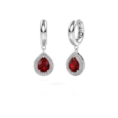 Picture of Drop earrings Barbar 1 585 white gold ruby 8x6 mm