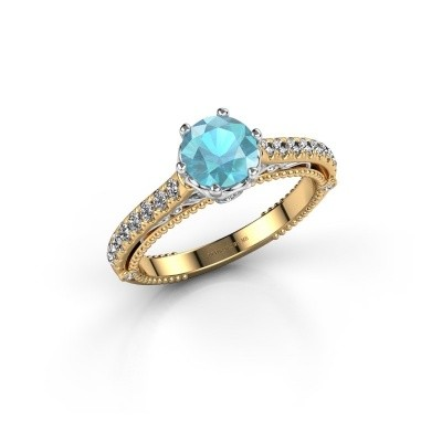 Foto van Verlovingsring Venita 585 goud blauw topaas 6.5 mm