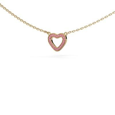 Hanger Heart 4 375 goud roze saffier 0.8 mm