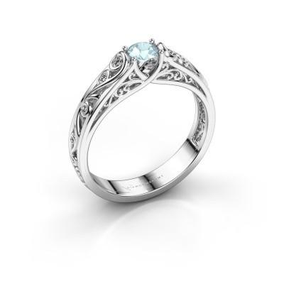 Foto van Ring Quinty 925 zilver aquamarijn 4 mm