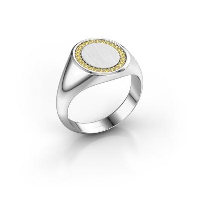 Men's ring Floris Oval 3 950 platinum yellow sapphire 1.2 mm