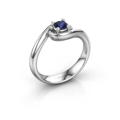 Foto van Ring Linn 585 witgoud saffier 4 mm