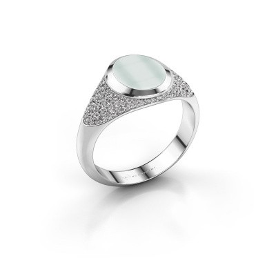 Signet ring Susana 950 platinum green sardonyx 10x8 mm