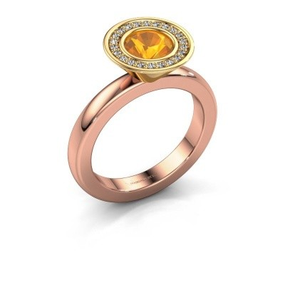 Stapelring Danille 585 rosé goud citrien 6 mm