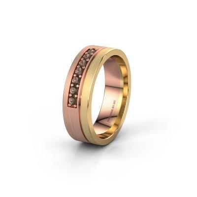 Trouwring WH0312L16AM 585 rosé goud rookkwarts ±6x1.7 mm