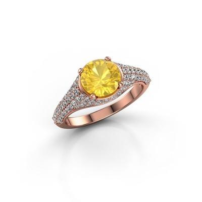 Verlovingsring Lovella 375 rosé goud gele saffier 7 mm