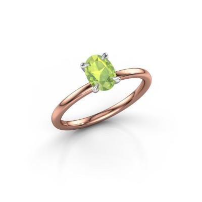 Foto van Verlovingsring Crystal OVL 1 585 rosé goud peridoot 7x5 mm