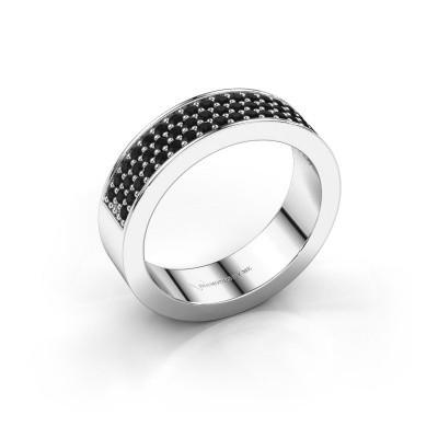 Foto van Ring Lindsey 4 950 platina zwarte diamant 0.636 crt