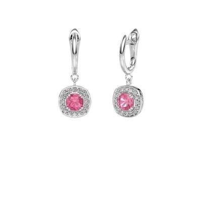 Drop earrings Marlotte 1 585 white gold pink sapphire 5 mm