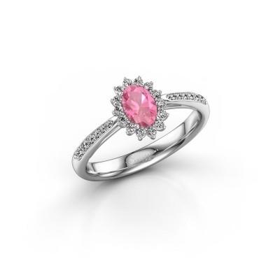 Foto van Verlovingsring Tilly 2 585 witgoud roze saffier 6x4 mm