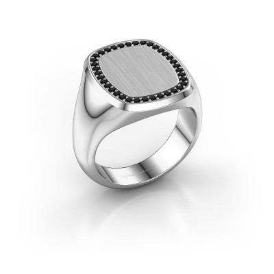 Heren ring Floris Cushion 4 925 zilver zwarte diamant 0.333 crt