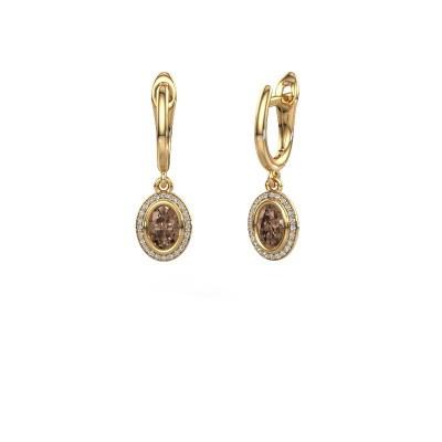Foto van Oorhangers Noud OVL 585 goud bruine diamant 0.50 crt