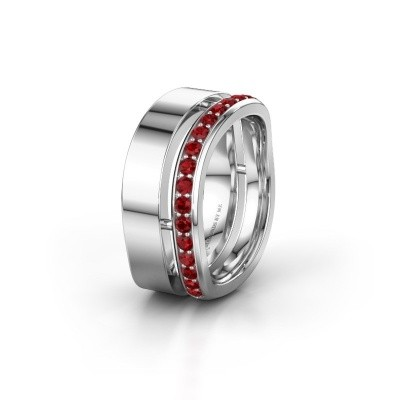 Weddings ring WH6008L18BP 925 silver ruby ±10x2 mm