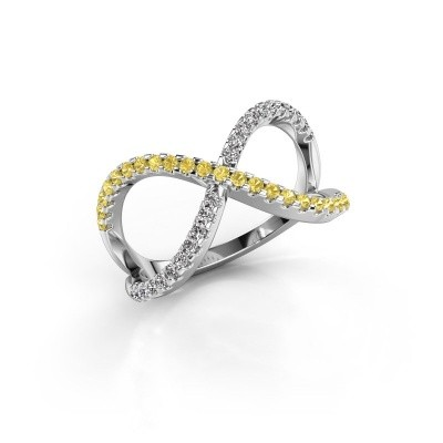 Ring Alycia 2 585 white gold yellow sapphire 1.3 mm