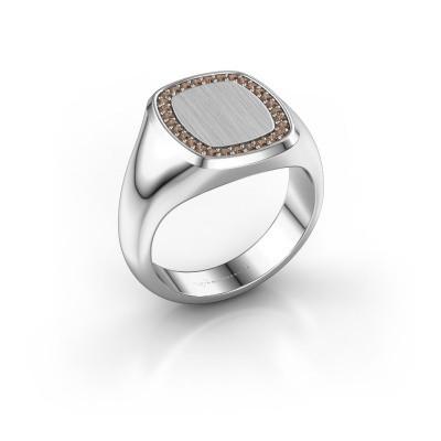 Heren ring Floris Cushion 3 950 platina bruine diamant 0.225 crt