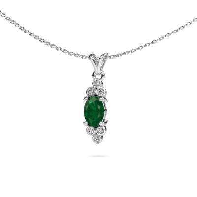Foto van Hanger Lucy 2 585 witgoud smaragd 7x5 mm