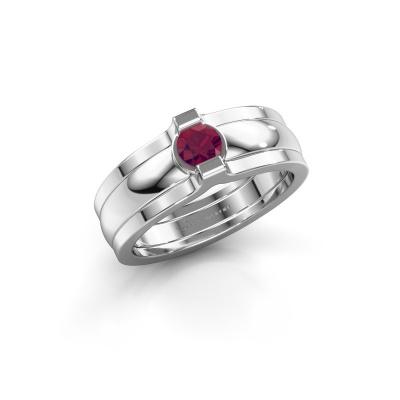 Ring Jade 925 Silber Rhodolit 4 mm