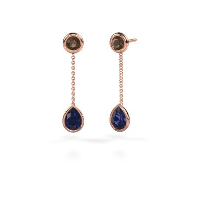 Drop earrings Ladawn 585 rose gold sapphire 7x5 mm