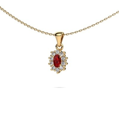Picture of Necklace Leesa 375 gold ruby 7x5 mm