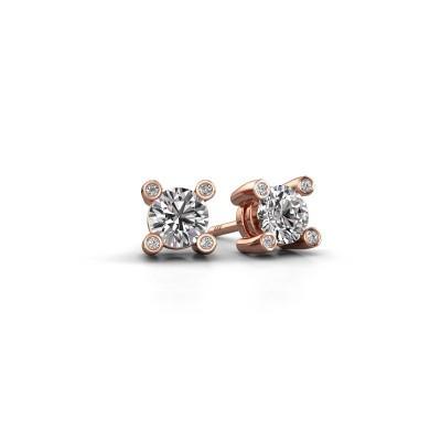 Foto van Oorknopjes Fleur 585 rosé goud diamant 0.44 crt