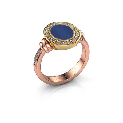 Signet ring Bailey 585 rose gold lapis 10x8 mm