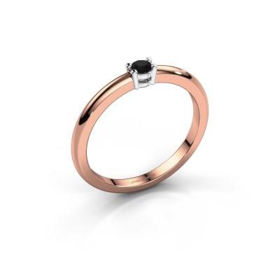 Foto van Verlovingsring Michelle 1 585 rosé goud zwarte diamant 0.096 crt