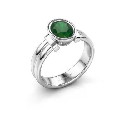 Ring Gerda 925 zilver smaragd 8x6 mm