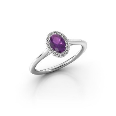 Picture of Engagement ring Seline ovl 1 925 silver amethyst 6x4 mm