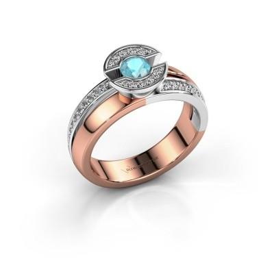 Foto van Ring Jeanet 2 585 rosé goud blauw topaas 4 mm
