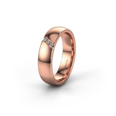 Wedding ring WH0174L25BP 375 rose gold lab-grown diamond ±5x2 mm