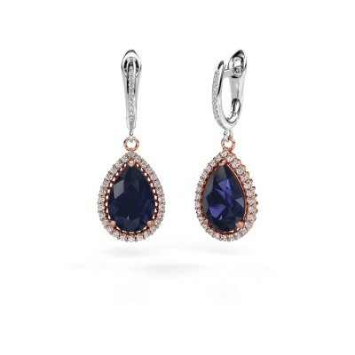Picture of Drop earrings Hana 2 585 rose gold sapphire 12x8 mm