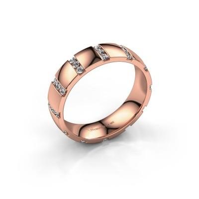Bague de mariage Juul 375 or rose zircone ±5x1.8 mm
