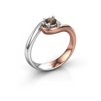 Foto van Ring Linn 585 rosé goud rookkwarts 4 mm